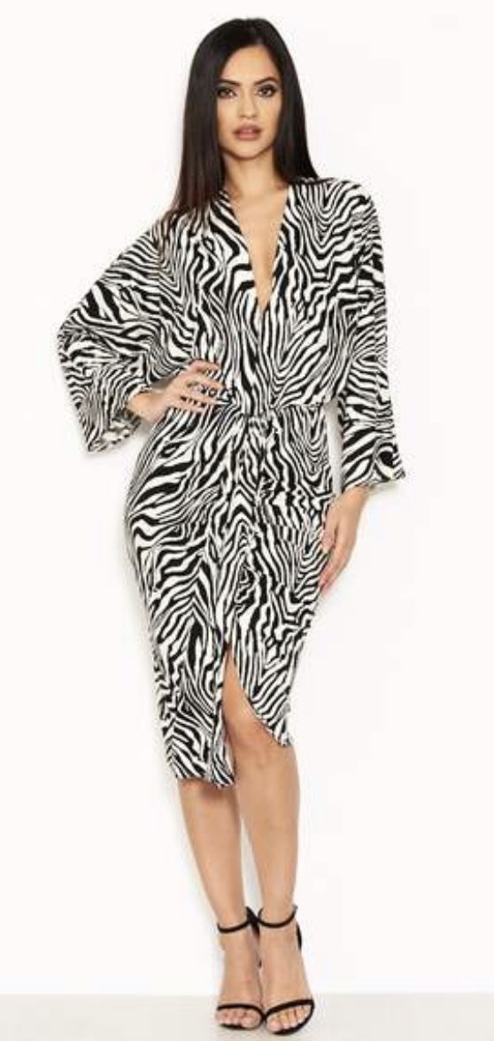 f79e5521cce4 HomeShopClothingDressesAx Paris Zebra Print Wrap Dress. Sold Out. prev
